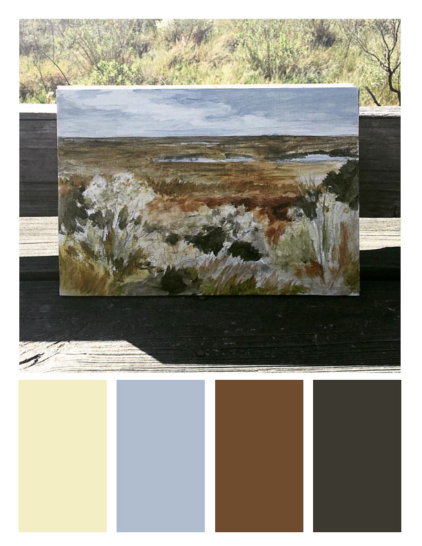 October/Fall Palette. Marsh painting from Big Branch Marsh NWR.