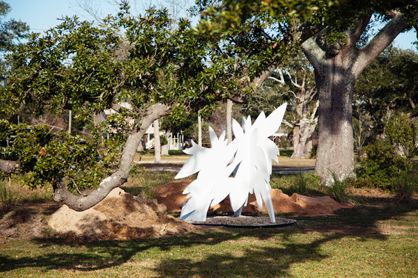 """Onward"", installed beneath the branches of a majestic oak along the beach in Bay St. Louis, Mississippi. You can see the shadows starting to creep in from the left as the sun crosses over the sky."