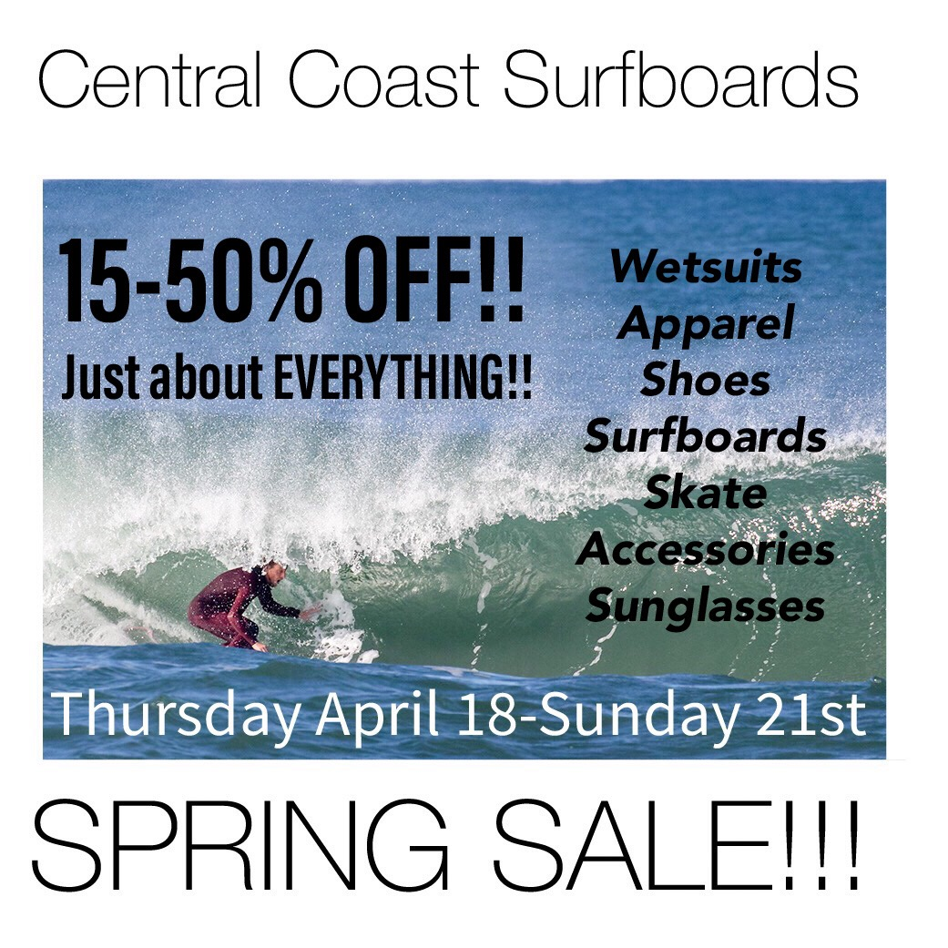 Spring Sale!!! - Coming up Thursday, April 18 through Sunday the 21st is our first Massive sale of 2019!!20-50% off all apparel - BOGO 50% off on Hippy Tree and Roark Apparel - 15-20% off all wetsuits - 15% off Skate - 20% off all Accessories - 20% off Shoes - 15% Sunglasses - $100 gift card with M21 or Borst Surfboard purchase - Buy 3 get 1 free Stance Socks - Plus much more!! Everything on SALE!!!
