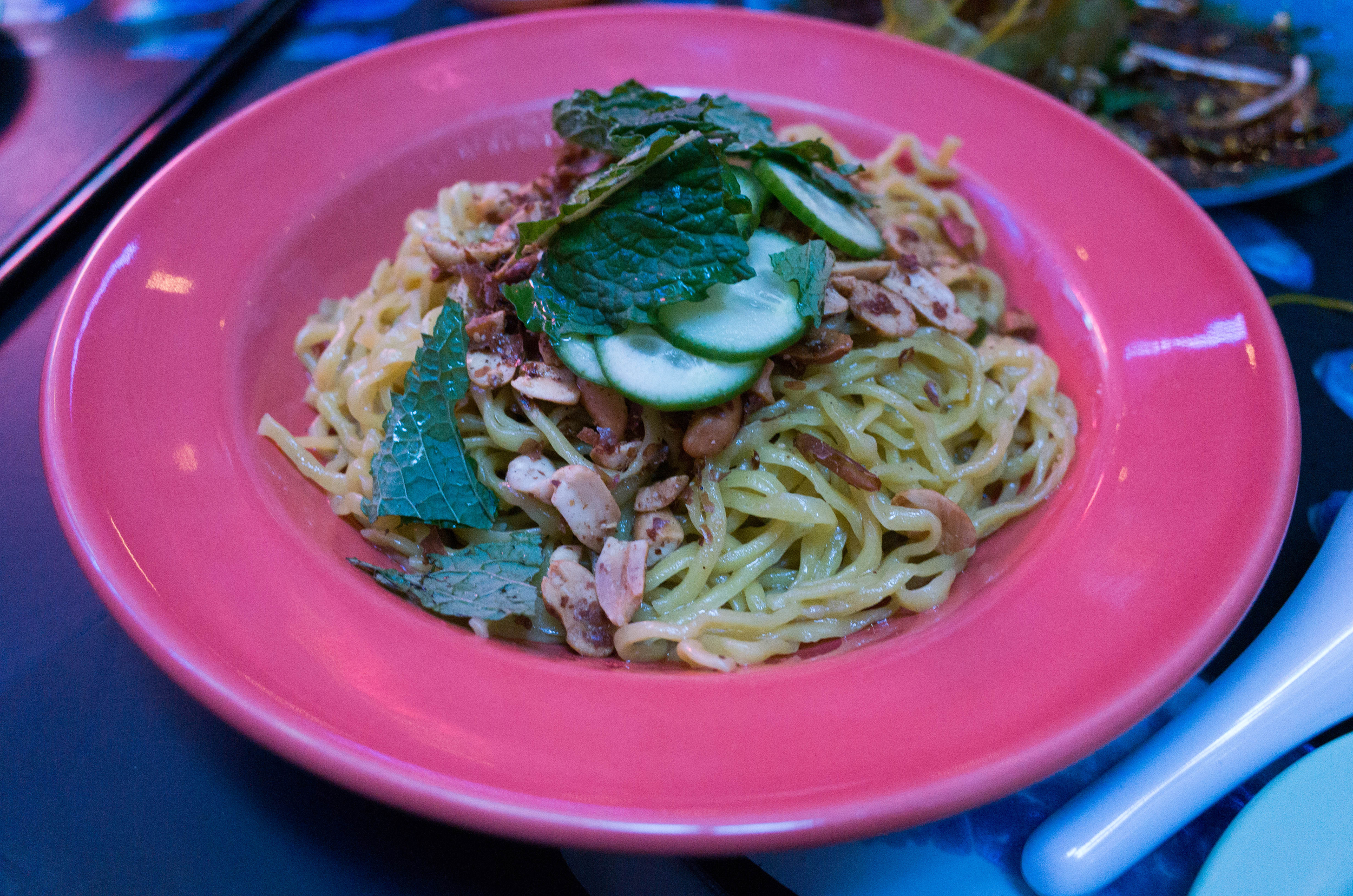 Green Papaya and Banana Blossom Salad - This is what it looks like after the waitress tosses it for you.