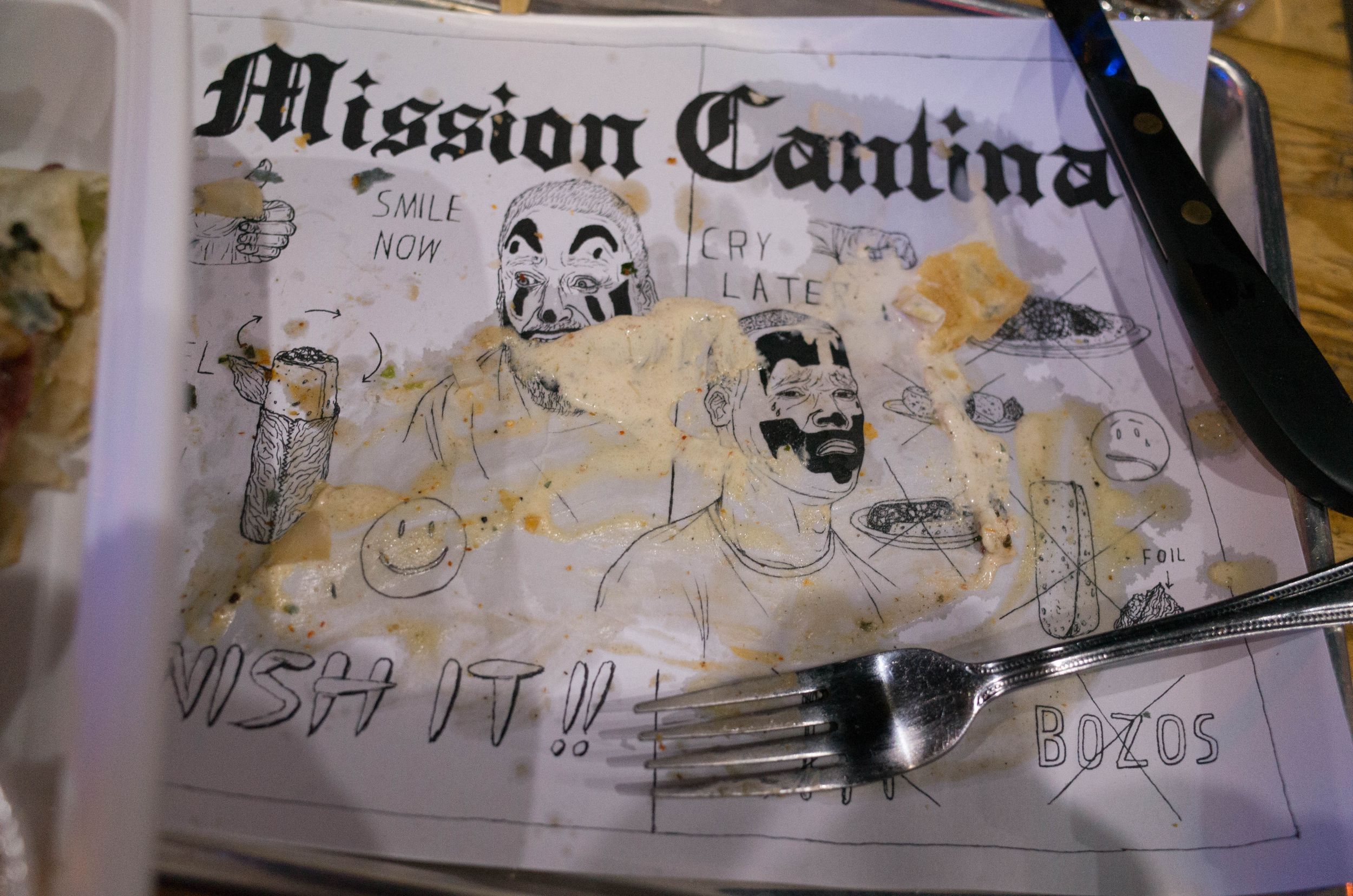 Judging from the Burrito-themed murals in the basement, I think Mission Cantina's all-burrito menu angle is here to stay.