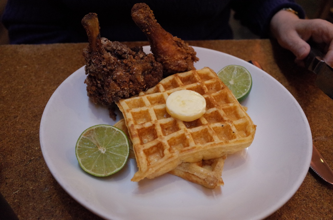 That fried chicken and waffles, up close. Several additional pats of butter may have been ordered