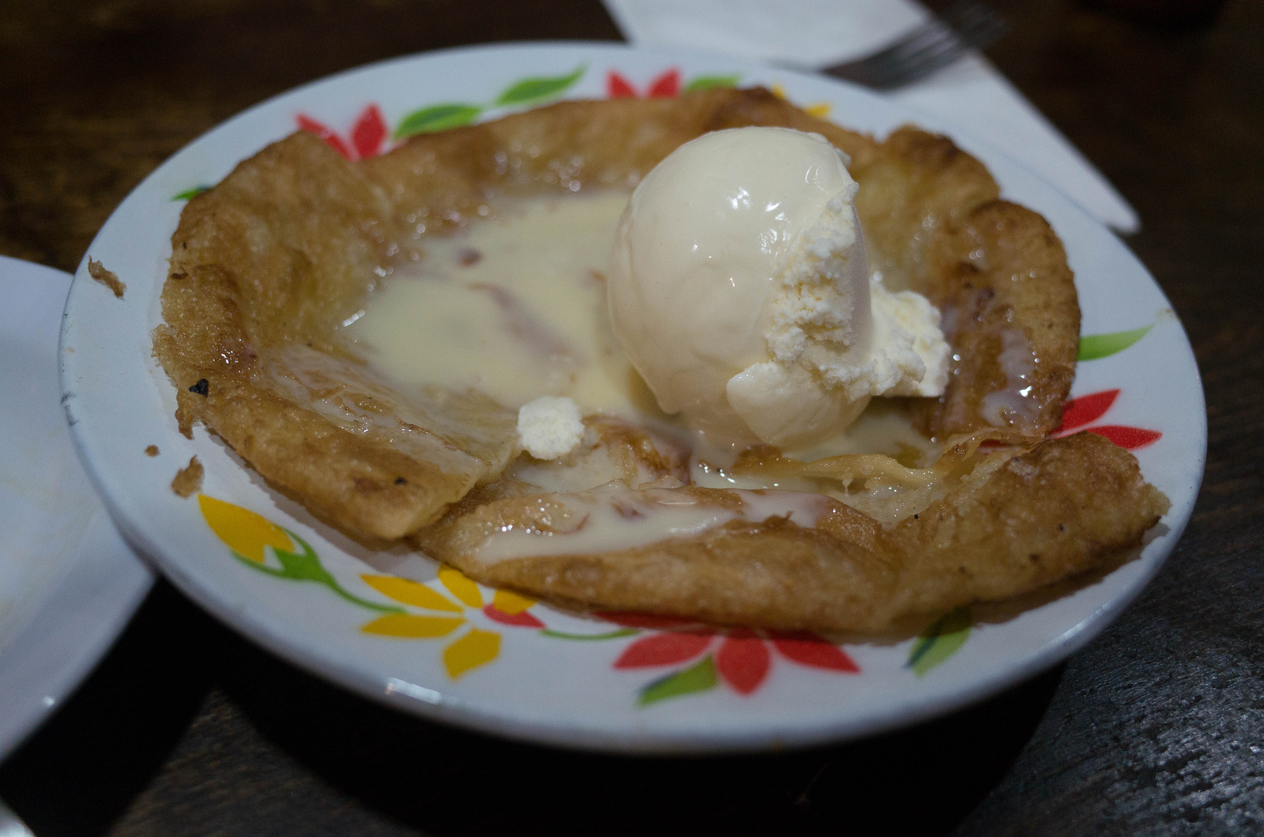 Roti with condensed milk and ice cream, one last unexpected stunner of a dish. We almost got in a fist fight over the last bites.