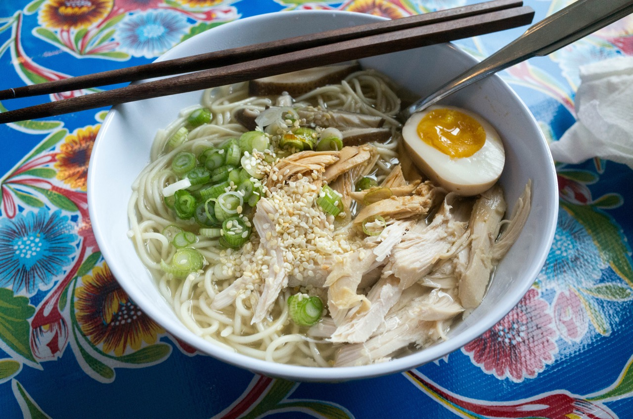 This is rotisserie chicken ramen after the recipe from 101 Easy Asian Recipes. From broth to bird, I made everything in that bowl! (No, I didn't raise the chicken, mushrooms or scallions or hand toss the noodles. I'm just saying this wasn't some from the packet ramen!)