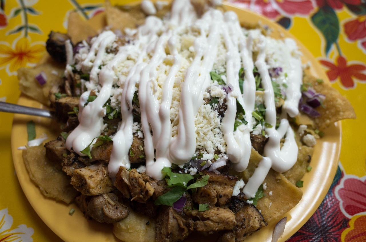 A machaca breakfast taco and a steak breakfast taco. The machaca was bomb.