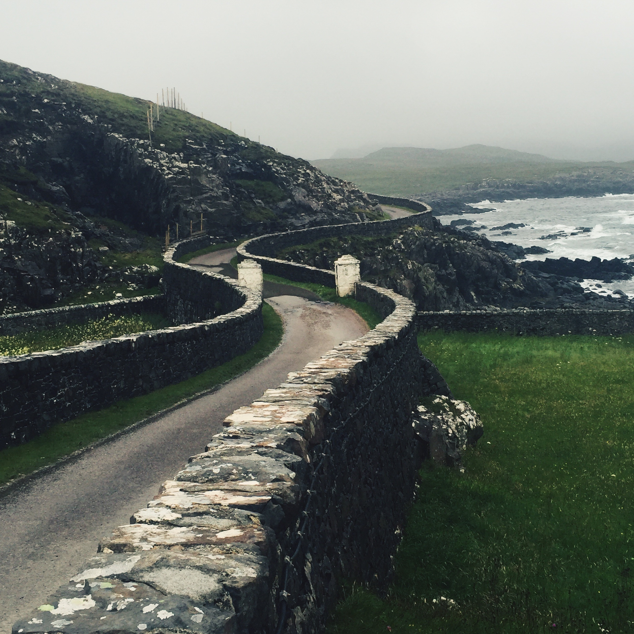 Ardnamurchan, Scotland, iPhone 6  In this image, it is the curve of the road that is the subject. The viewer's eye is drawn deeper into the frame and the fog and disappearing road add to a sense of mystery.