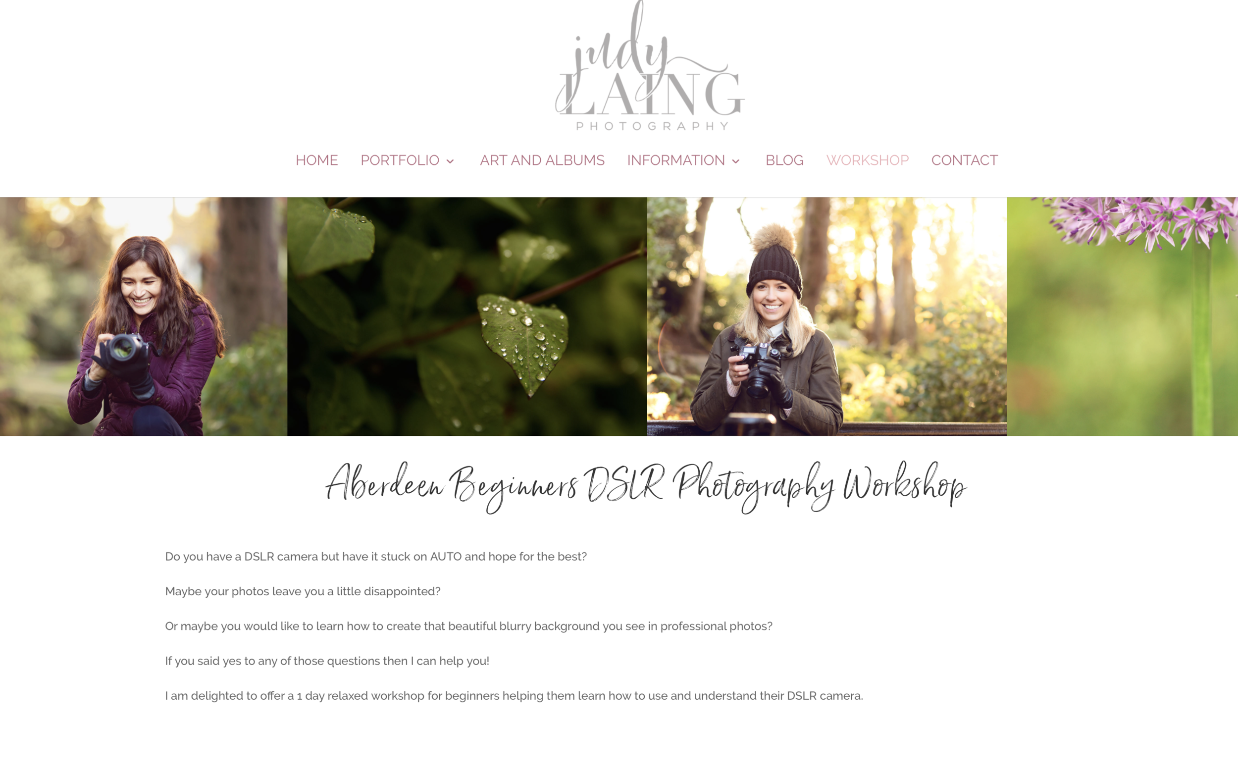Judy Laing Introduction to photography course