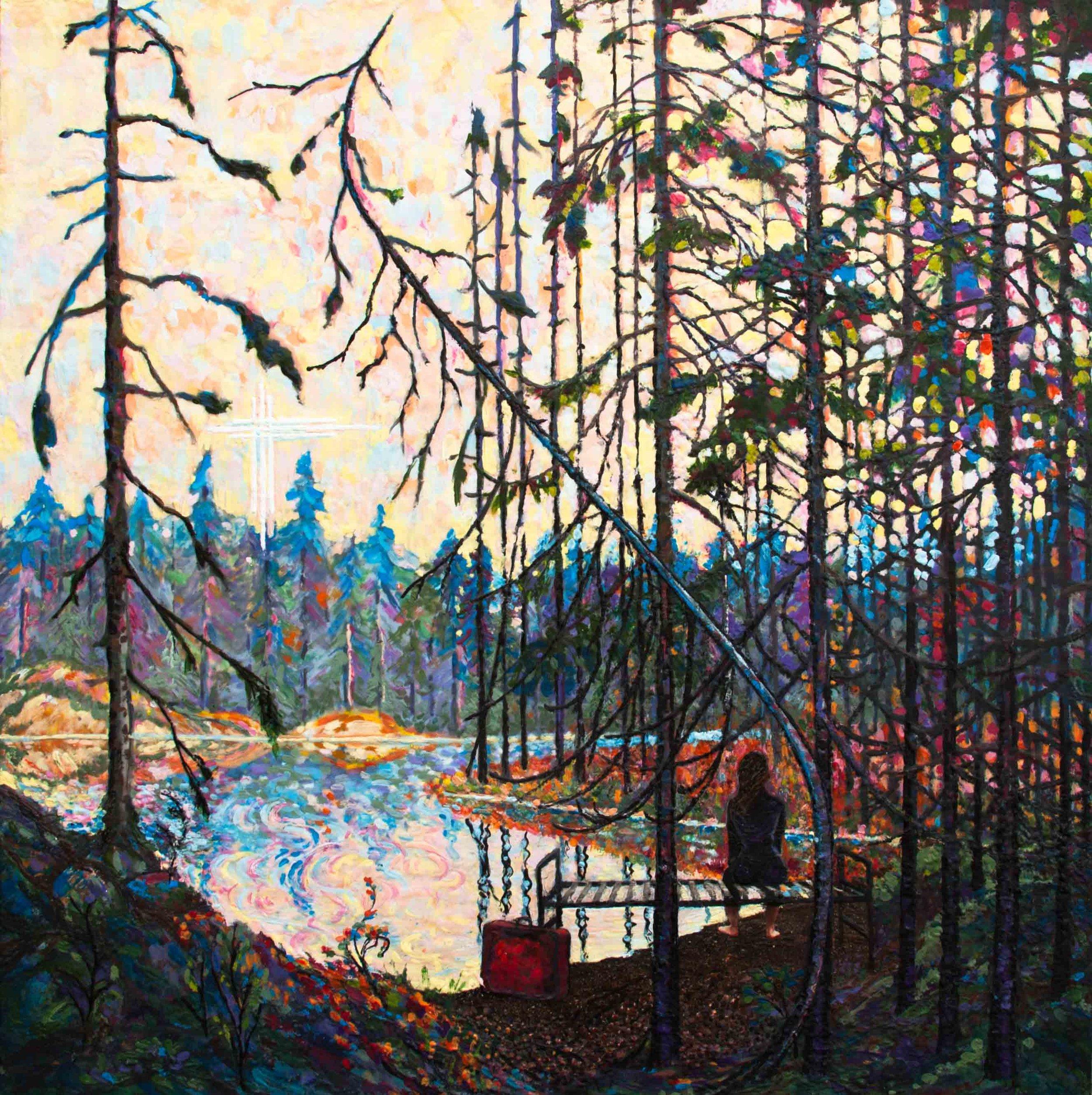 Tom's Swamp ,  Amanta Scott , encaustic on birch panel, 30 x 30 x 1.75, 2018