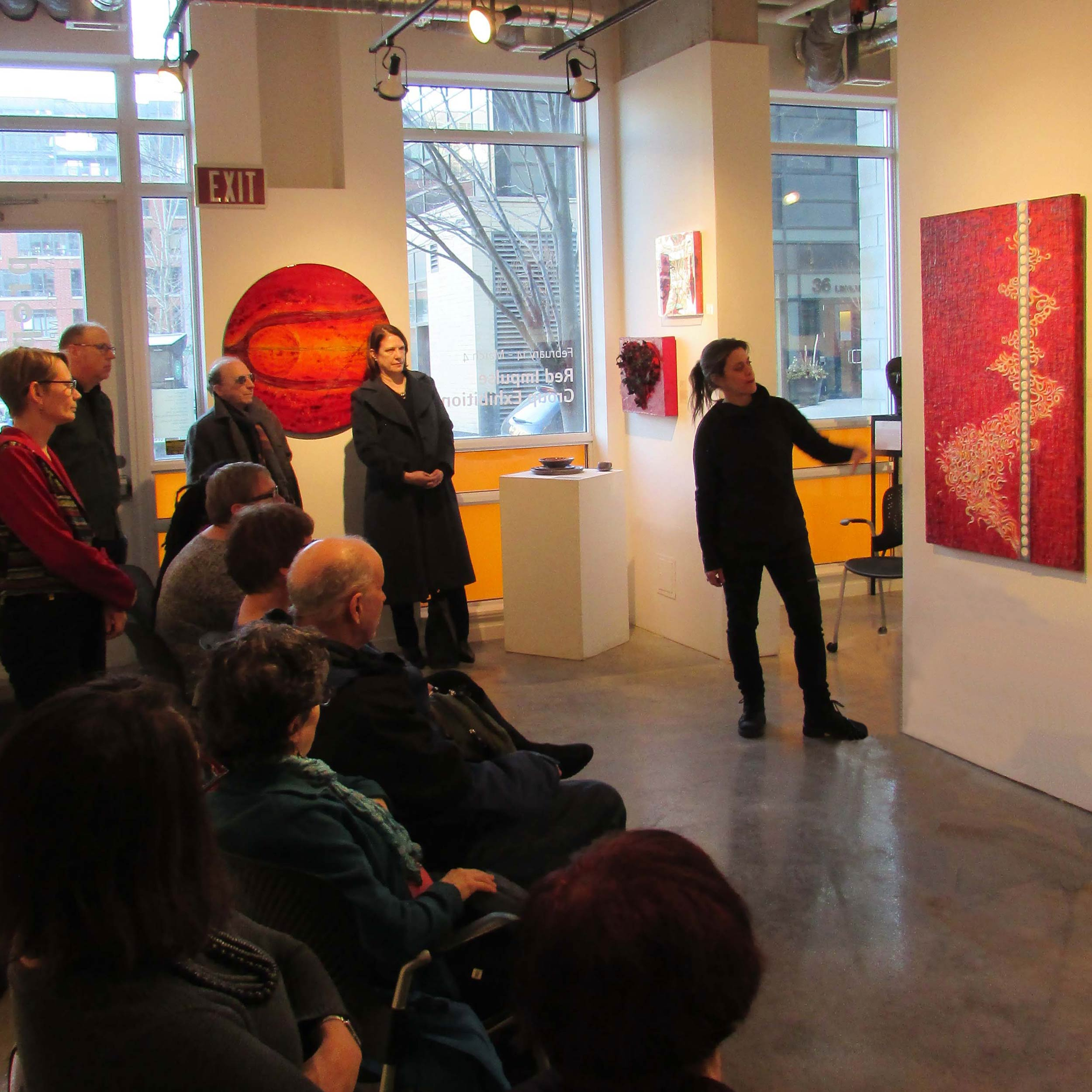 Amanta Scott speaks about her work at Propeller Gallery, Toronto, in Red Impulse exhibition     Alchemy   , Amanta Scott, Encaustic painting with stainless steel on birch panel, 48 x 30 x 2 inches