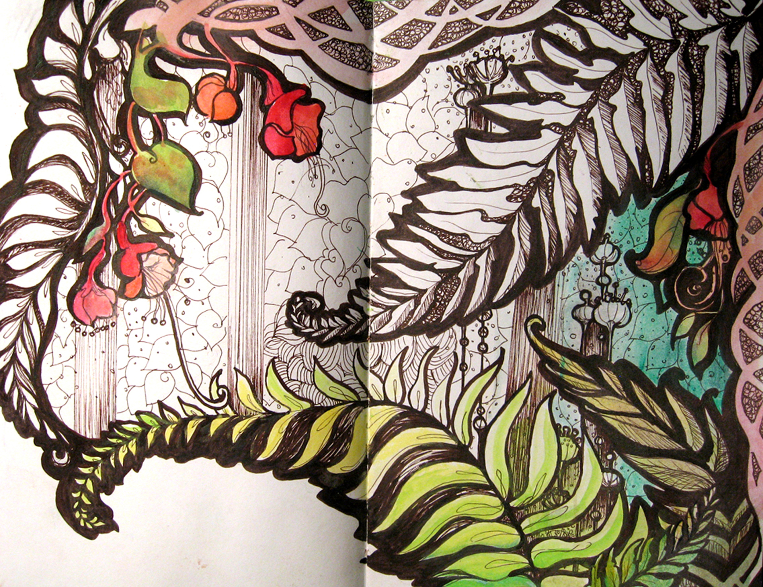 Ferns, Art Journal Page