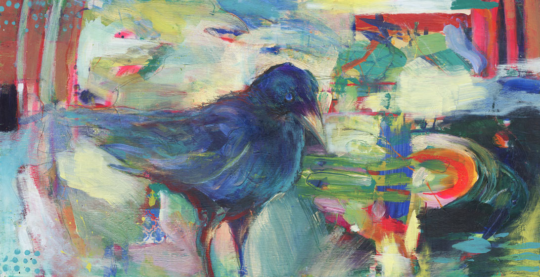 """BigCrow"" 24x48"" Collaborative Painting - Bill Shumway and Rachel Urista 2016"