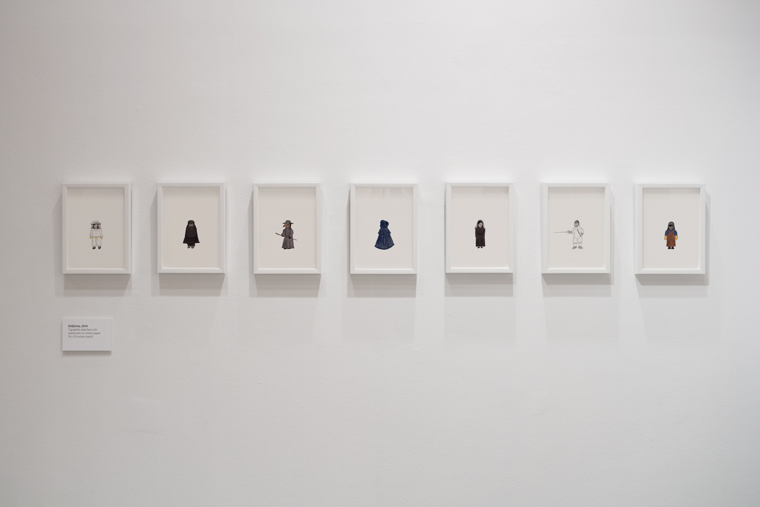 """Installation view of the """"Uniforms"""" drawings at the Laurie M. Tisch Gallery in New York, 2016"""
