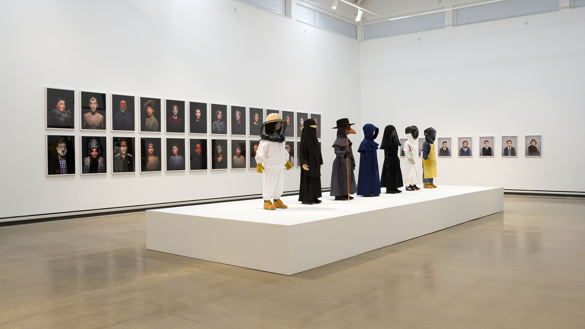 Installation view of Beauty (2017), Uniforms (2015), and Recluse (2017)