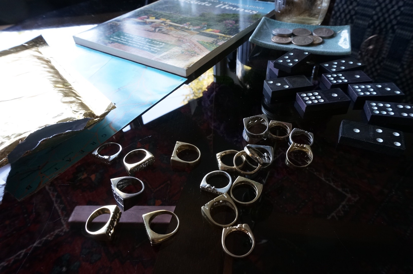 Brass Rings on 1970s Smoked-Glass Table