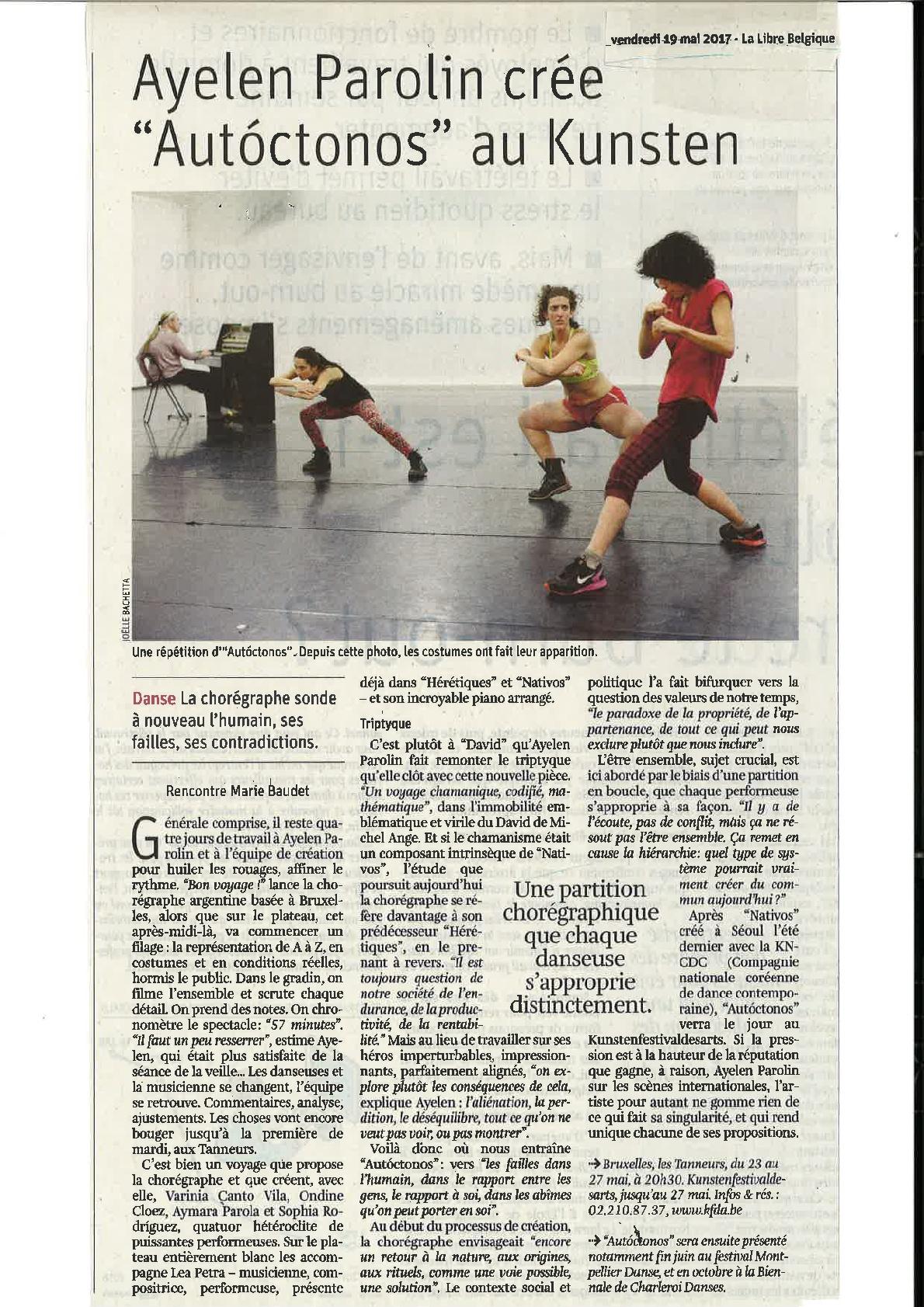 Article de Marie Baudet dans La Libre Belgique du vendredi 19 mai