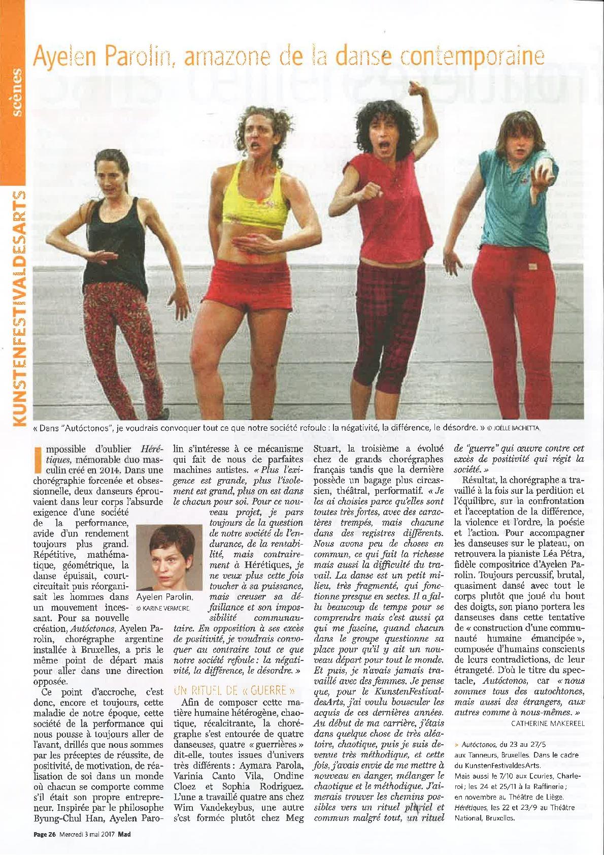 Article de Catherine Makereel dans le Le Soir/MAD du mercredi 3 mai