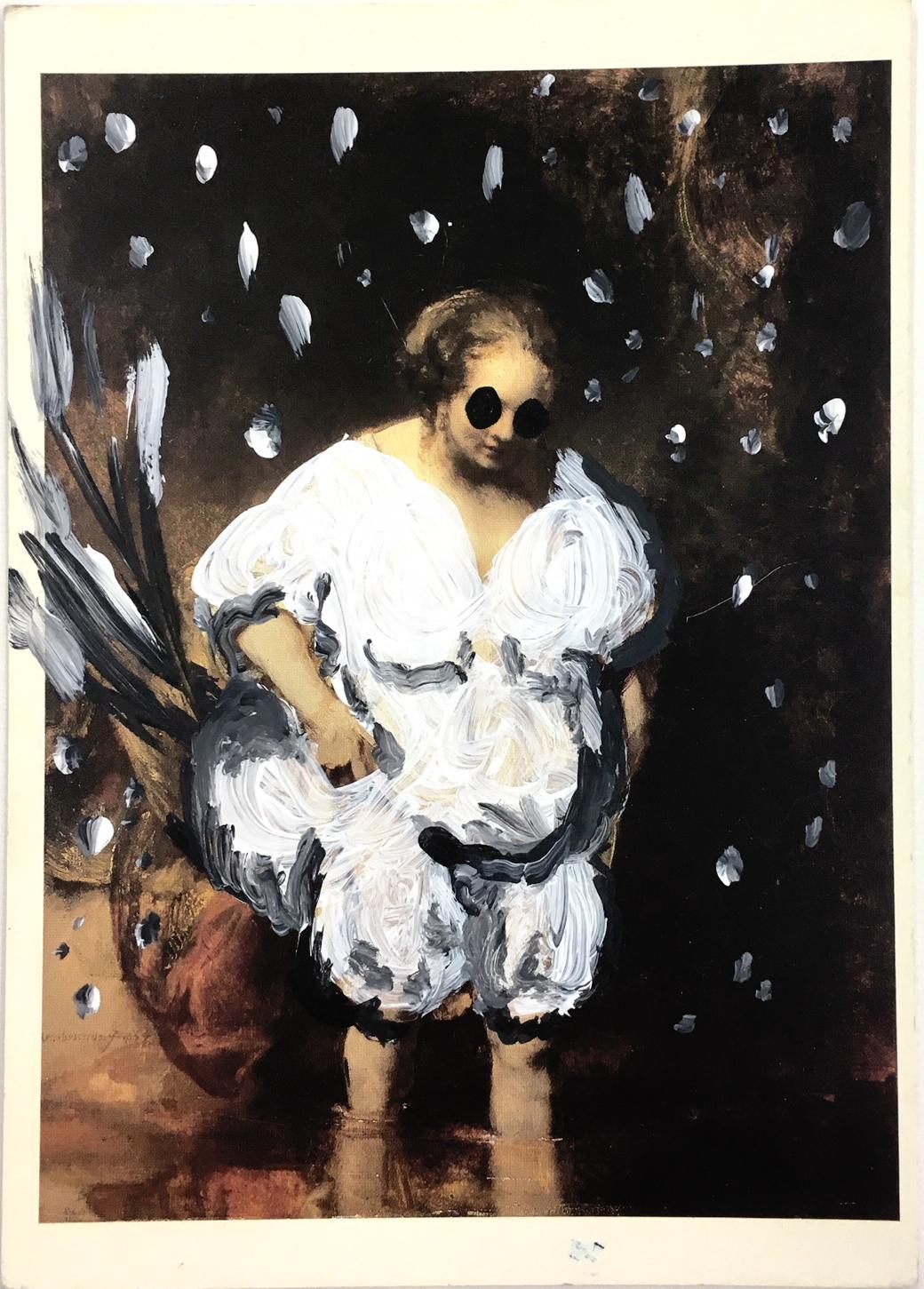 © Xavier Noiret-Thomé, Painting on postcard, 2019