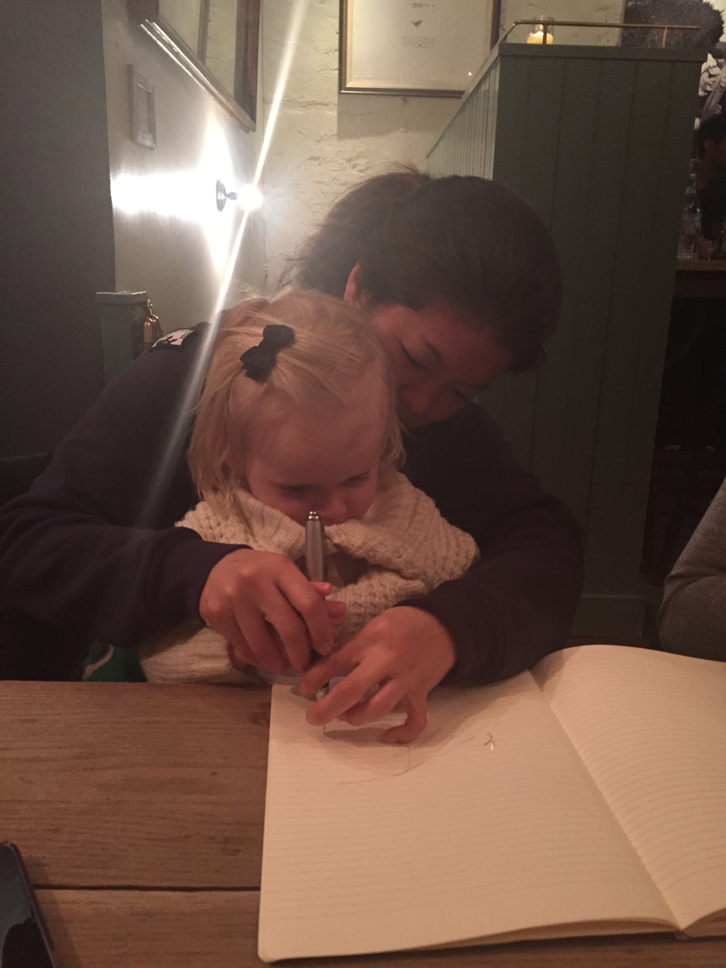 Drawing after dinner with Auntie C