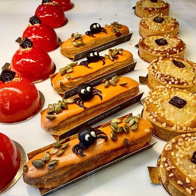 Are these not the cutest Halloween treats?!!! 🕸🕸🕷🕷 @maisonkayserusa #chocolate #pumpkin #eclair #halloween #foodpornshare ... . . . . . . . . . . . . . . . . . . . #nyc #citykids #newyork #fall #instagram #style #foodiechats  #fashionblogger #playtime #styleblogger #photooftheday #instastyle #instagood #fashionista #stylecollective #instablogger #styleblog #lifestyle #igmamma #love #momsofinstagram #fashionblogger #brandambassador #influencer #chic #style #foodblogger
