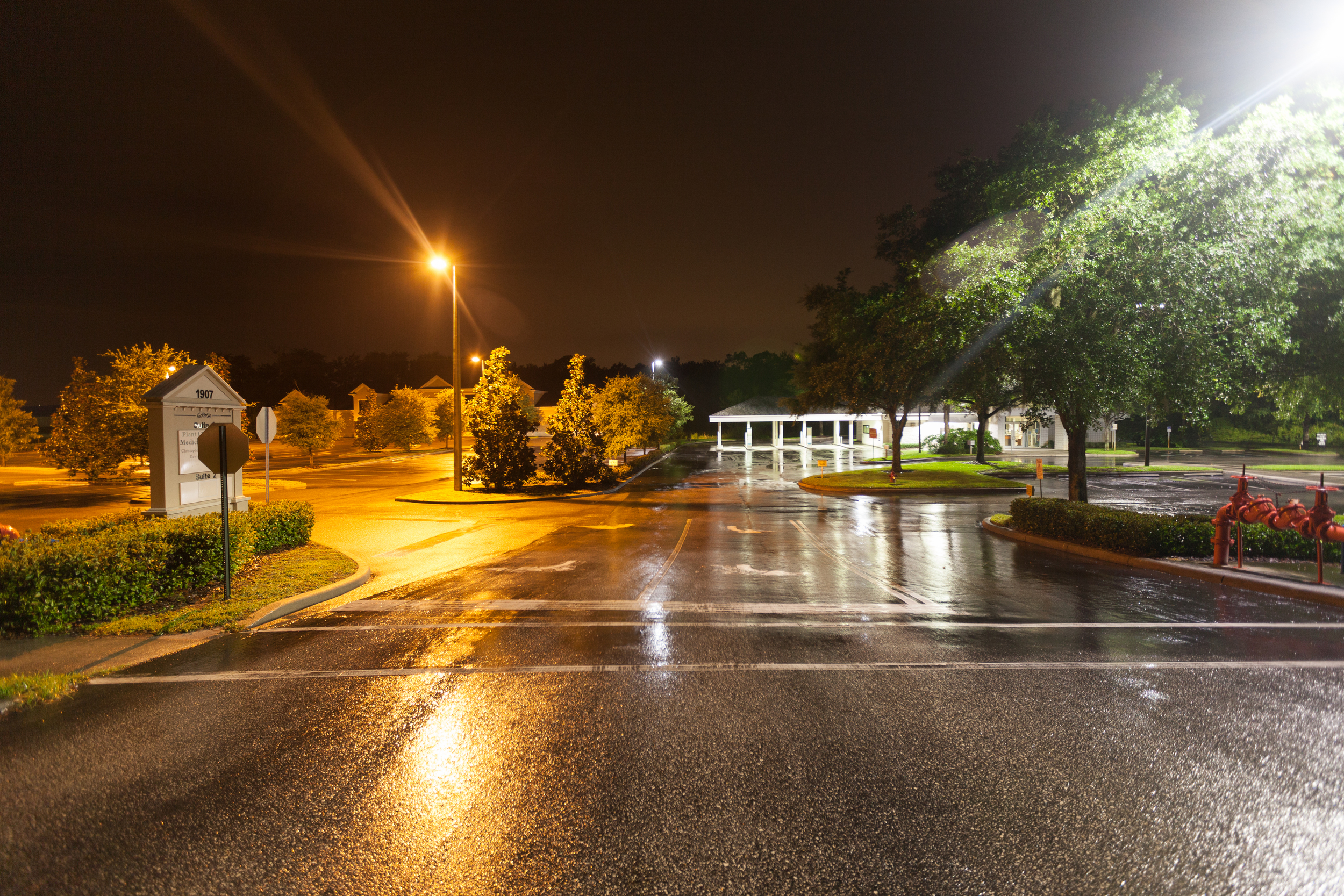To the left standard high pressure sodium lights. To the right our crisp clean LED lighting platforms
