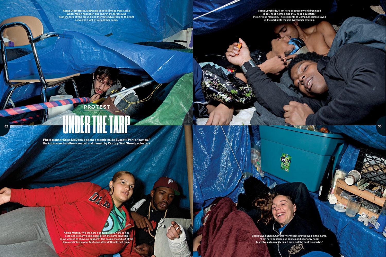 "Photo Editing  Occupy Wall Street ""Under The Tarp""  Photographer  Erica McDonald"