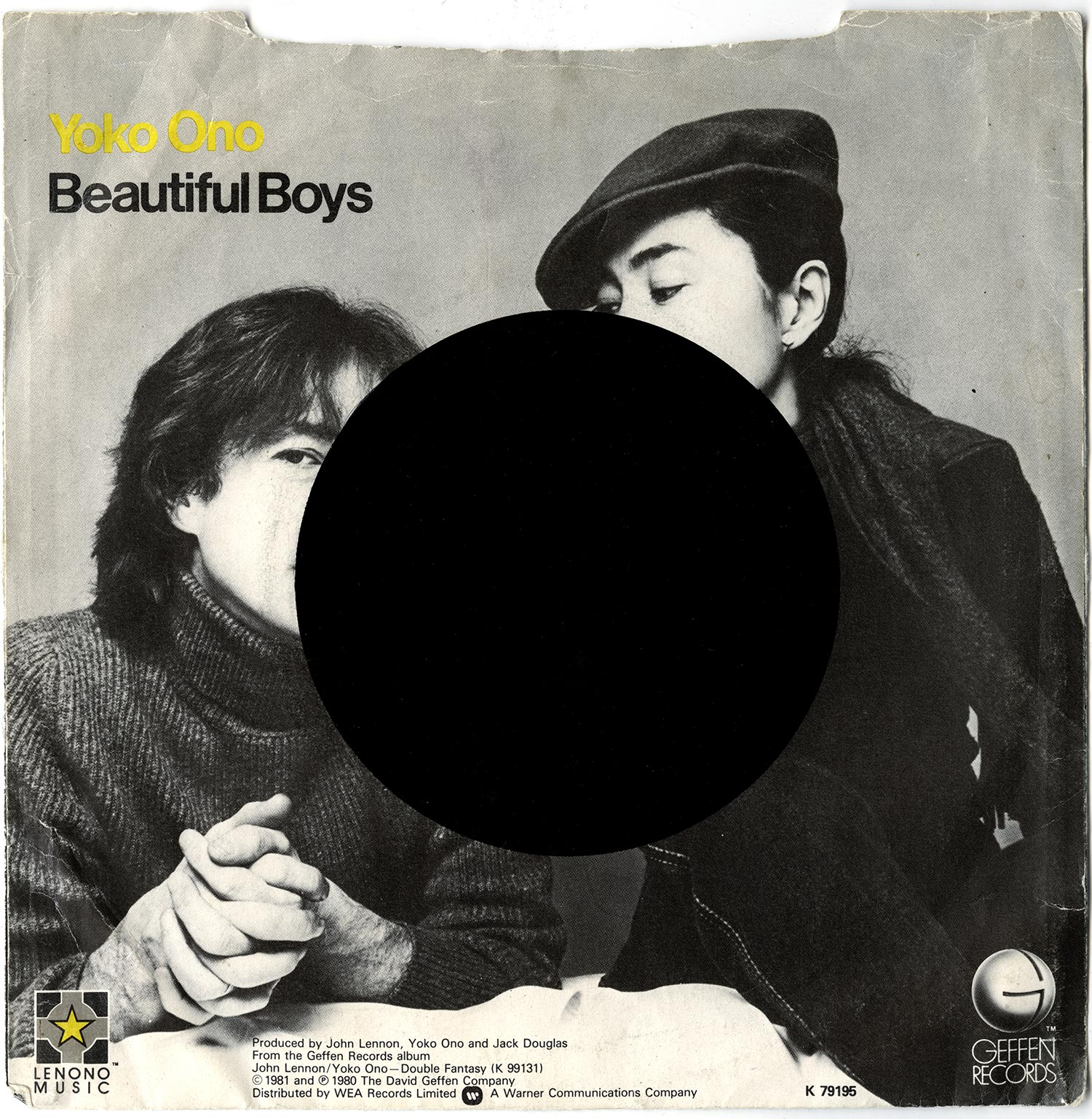 Beautiful Boys, 2009  Silkscreen on Vintage Record Sleeve