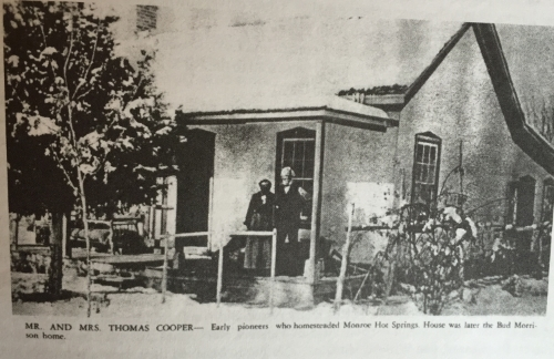 Mrs. and Mr. Thomas Cooper- Early Mormon Pioneers that homesteaded Mystic Hot Springs (formally known as Monroe Hot Springs)
