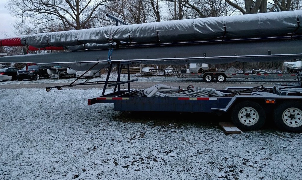 Snow covered the ground and boats when the crew arrived Saturday morning. The early morning temperature was 28 degrees.