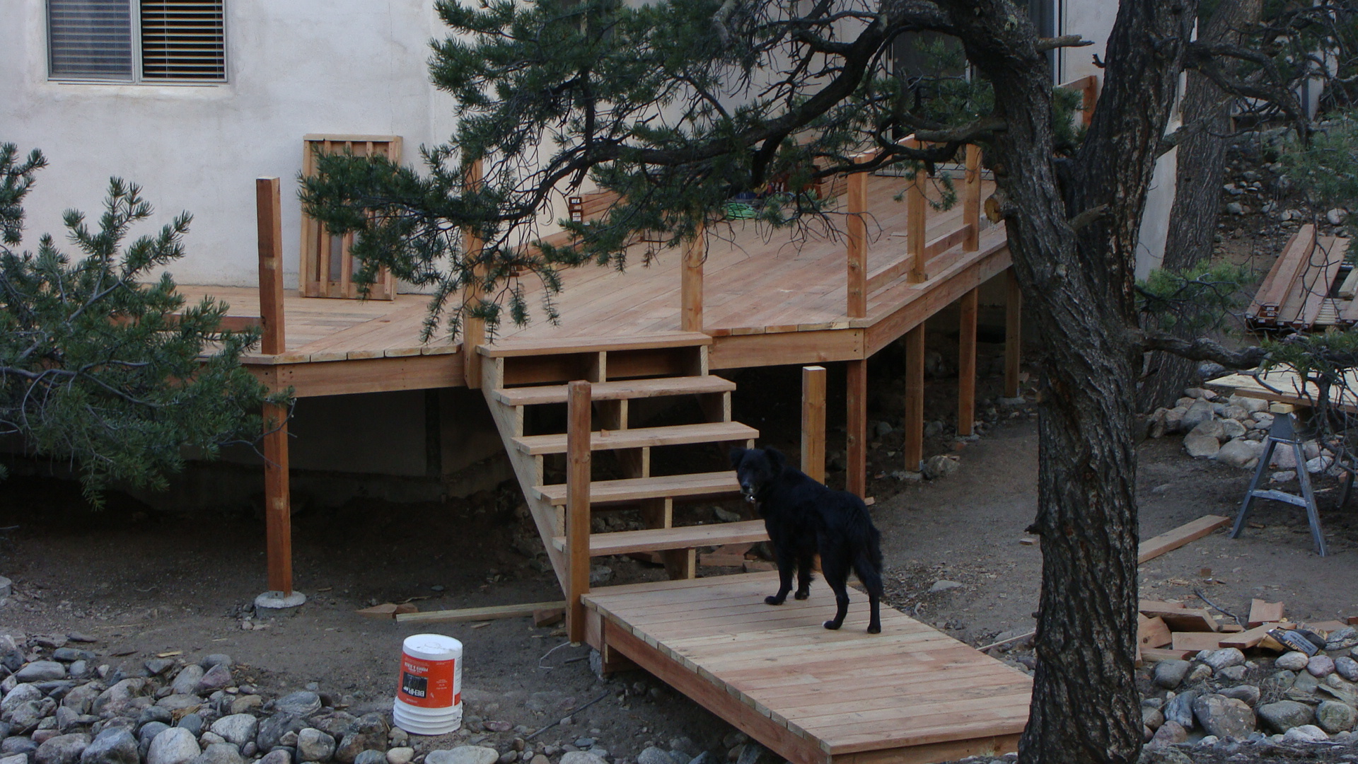 The deck is coming right along too & Luke approves!