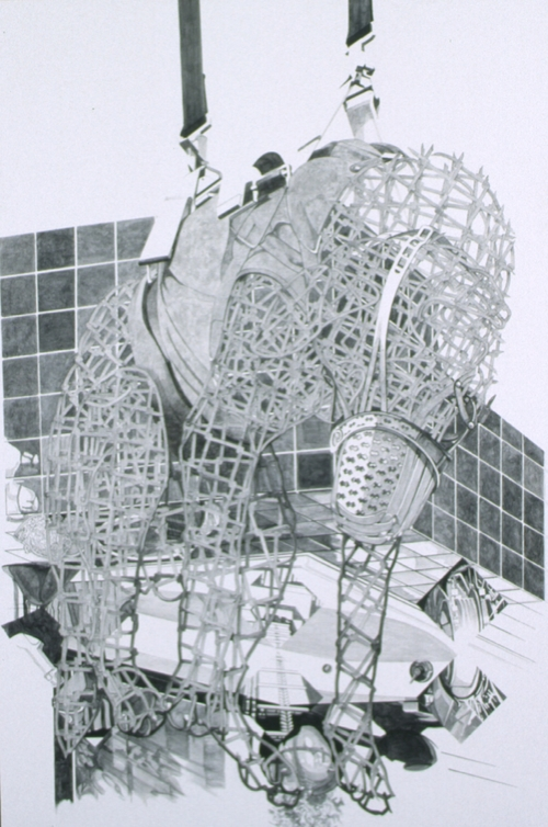 """Cantos III, 1997,charcoal and polymer emulsion, 101"""" x 69"""""""