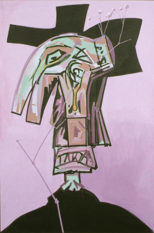 """Doink, 1990, acrylic on canvas, 101"""" x 69"""""""