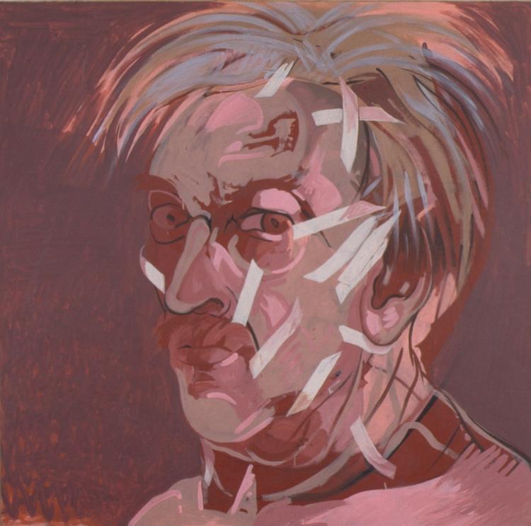 "Masking Tape Face Lift, 1990, acrylic on canvas, 67"" x 67"""