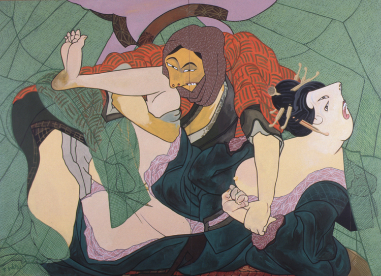 Kakoi, 1992, acrylic on canvas, 102 x 138""