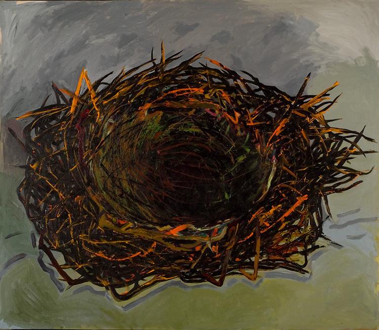 "Green Nest, 2007, acrylic on canvas, 90"" x 70"""