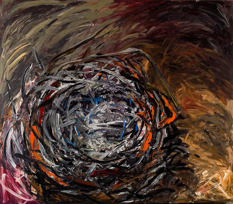 "Ground Nest, 2007, acrylic on canvas, 90"" x 70"""