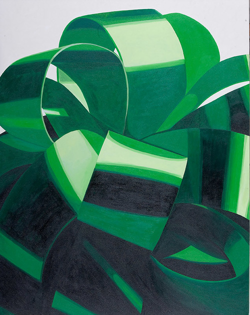 "Jade Bow For A Green China, 2009, acrylic on canvas, 65"" x 51 1/2"""