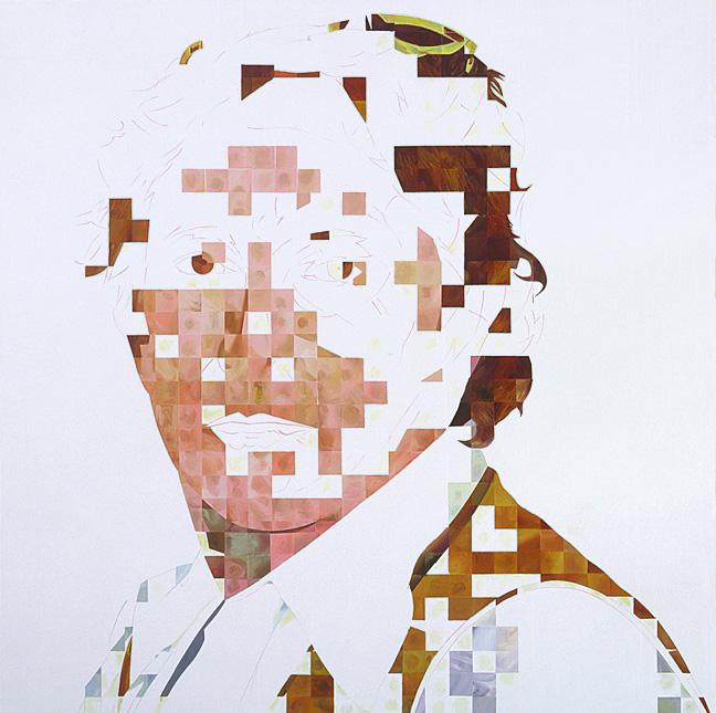 "Direct Hit, 2007, acrylic on canvas, 70"" x 70"""