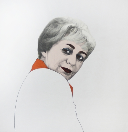 """June Wayne, 1974, hand-colored lithograph, 24"""" x 22"""""""