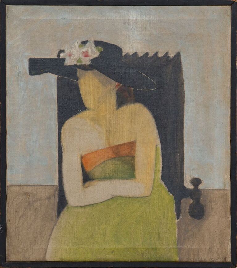 "Green Gown, 1962,  oil on canvas, 12 1/16"" x 14 1/16"""