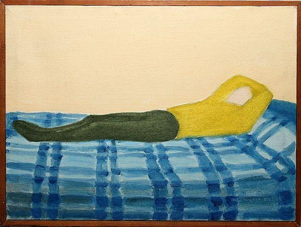 """Blue Blanket, 1962, oil on canvas, 12"""" x 16"""""""