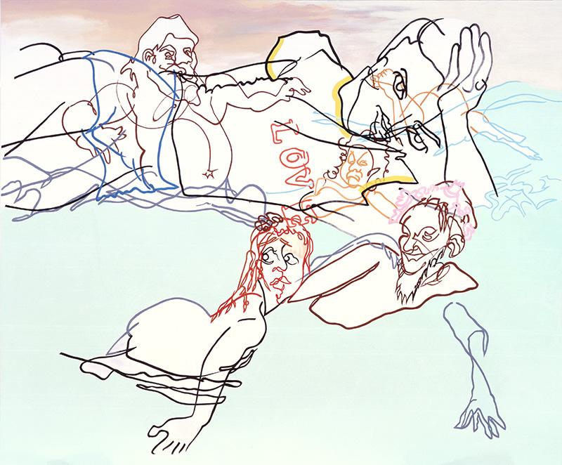 "Summer Tee, 2004, acrylic on canvas, 75"" x 90"""