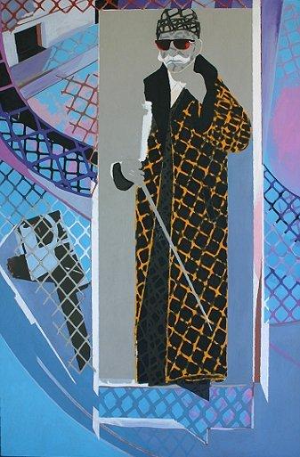 "Grey Homes/Dali, acrylic/collage on canvas, 1985, 69"" x 48"""