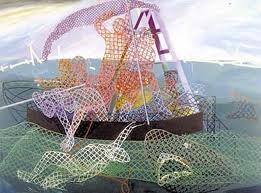 "The Studio, 1989, acrylic/collage on canvas, 102"" x 138"""