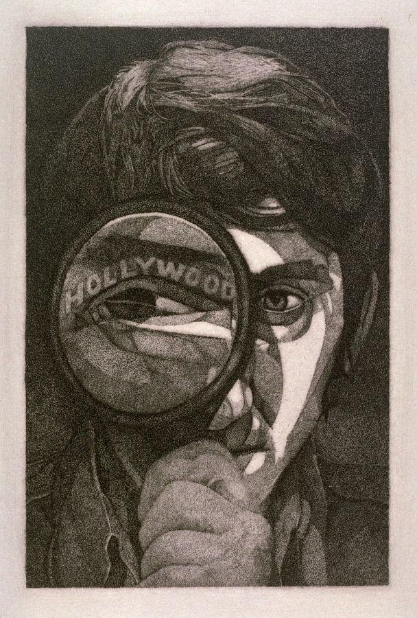 """Hollywood Eye/Ed Ruscha, 1970,  stipple etching, 3 1/2"""" x 5 7/8"""""""