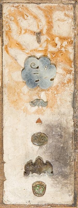 "Jade/Bottle Cap series, 2011, mixed media, 17 1/8"" x 6 1/2"""