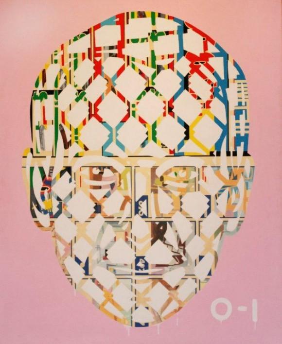 Jeff Koons Pyramid, acrylic on canvas,