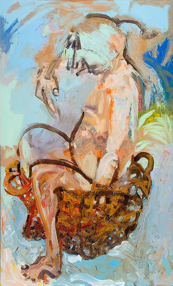 Descendant In A Basket, acrylic on canvas,