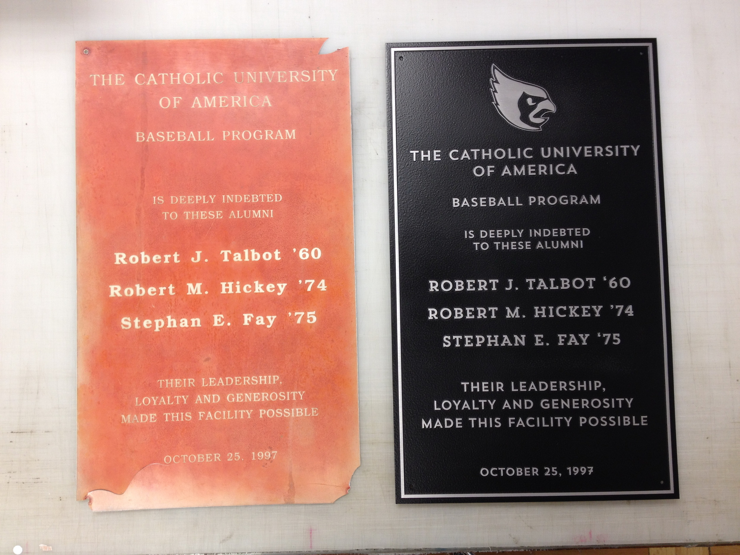 Before and after plaques for Catholic University