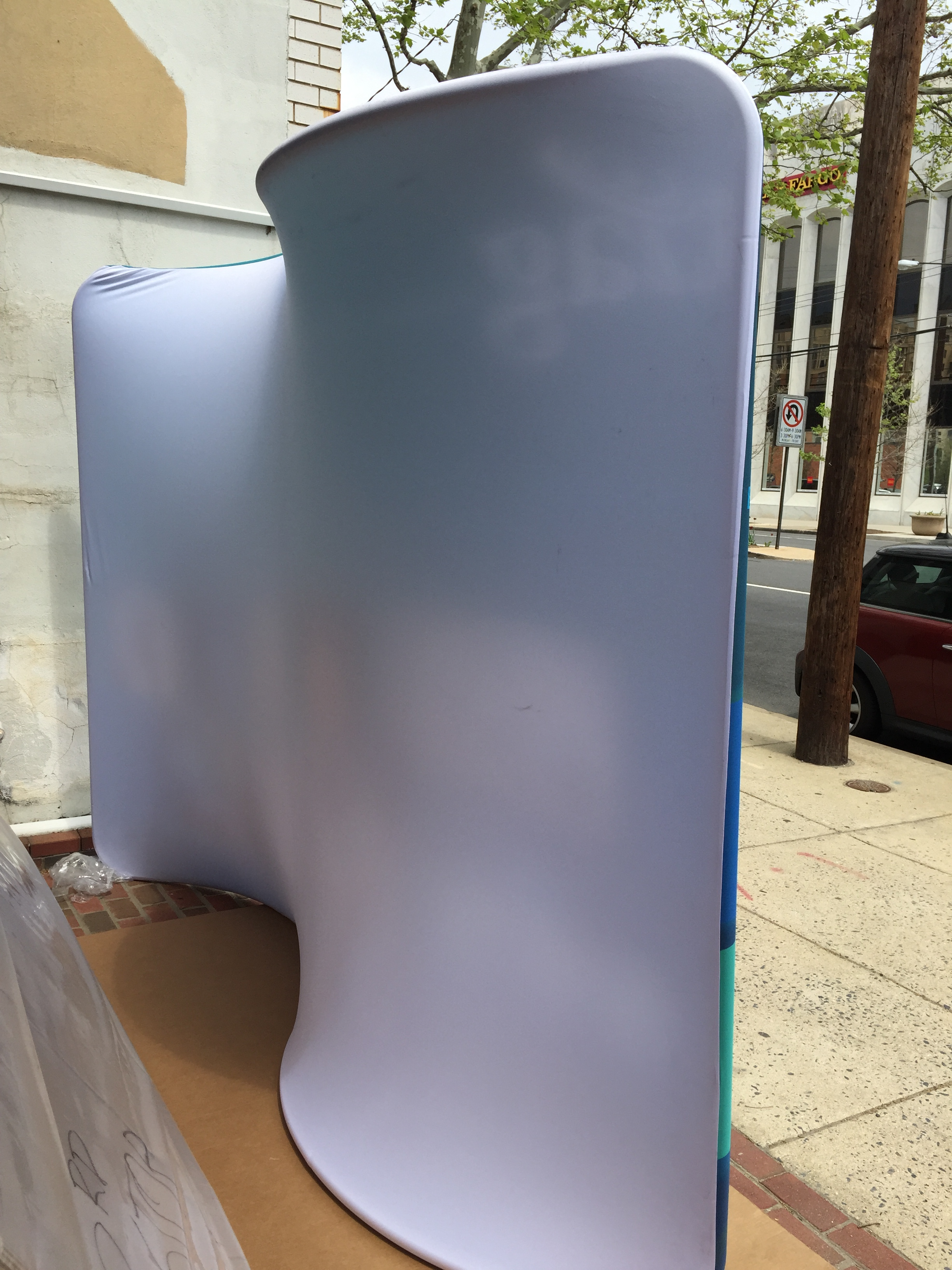 The back can be solid white (pictured), solid black, or we can just make it a double-sided display, with graphics on both sides.