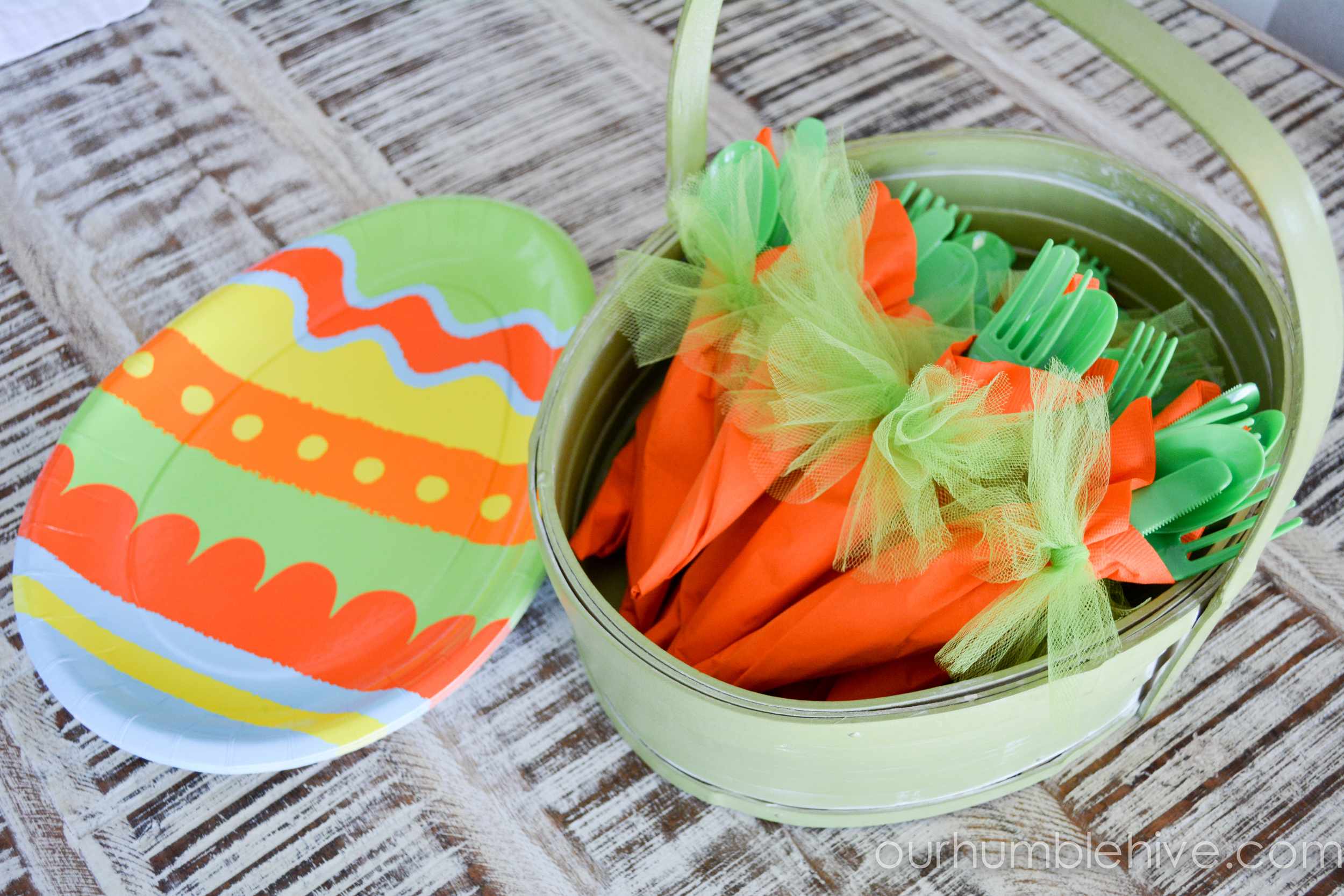 Picture of our Easter luncheon and cute carrot napkins, thanks to the Queen Bee (Maddie) for this fun idea.